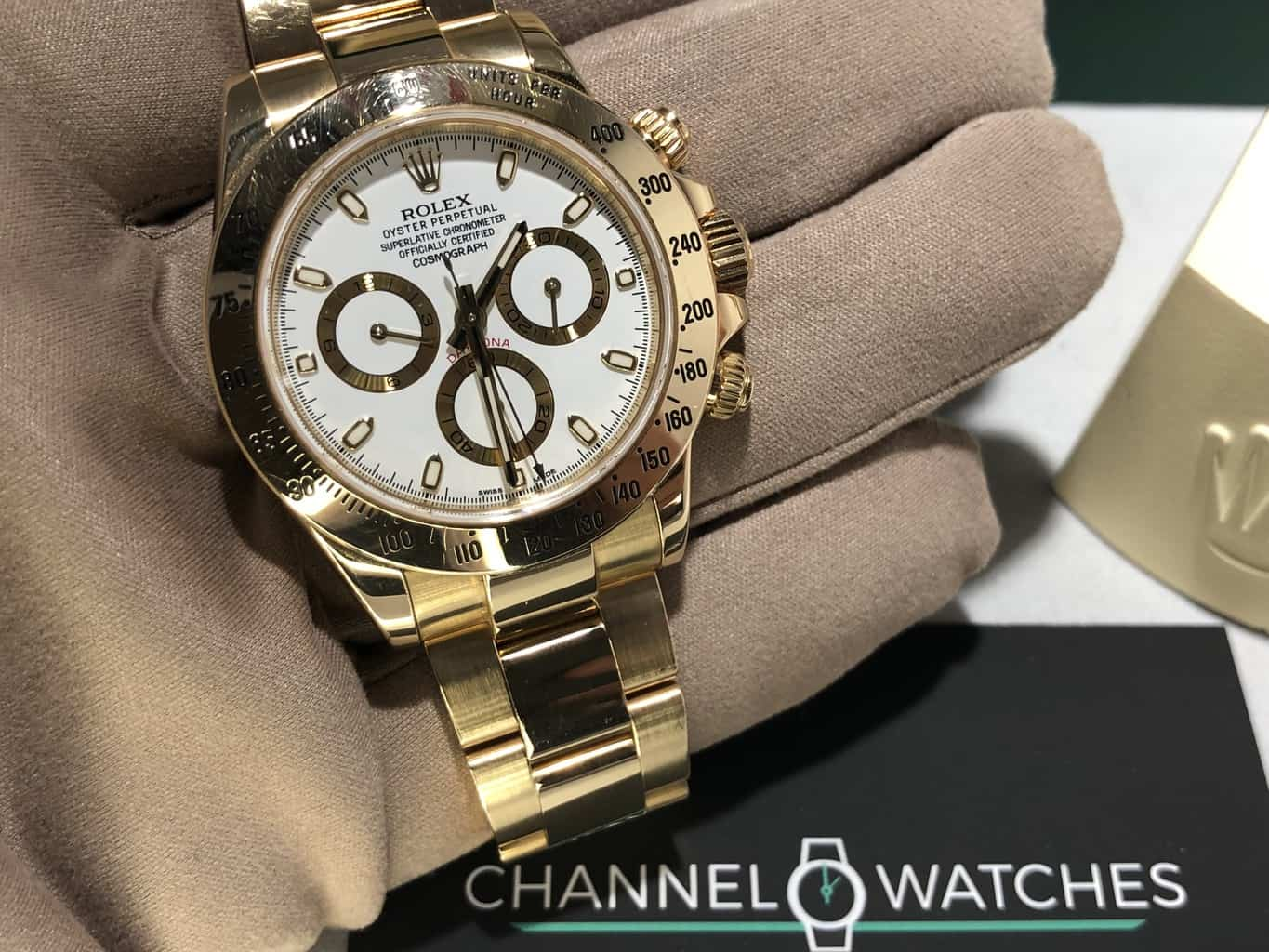 Rolex Daytona White Face 18 Ct Gold Now Sold Channel Watches