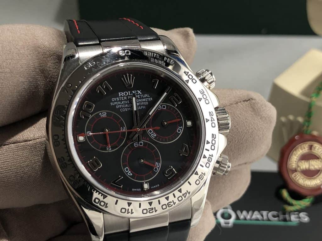 Rolex Daytona Black Racing Face 18 CT White Gold Now Sold